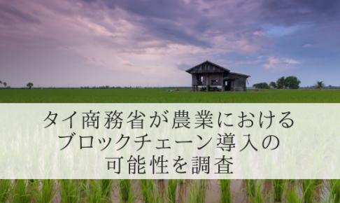 タイ商務省が農業の管理・輸出におけるブロックチェーン導入の可能性を調査し始める